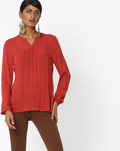 Top With Elasticated Sleeve Hems By Amari West ( Purple )