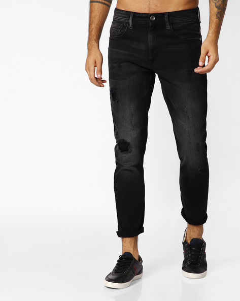 Distressed Slim Fit Jeans By ADAMO LONDON ( Black )