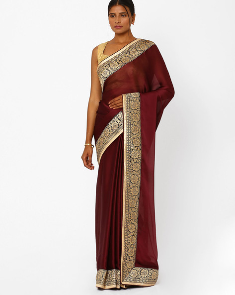 Satin & Georgette Designer Saree By RCPC ( Maroon )