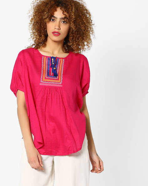 Batwing Top With Tie-Up By Global Desi ( Pink )