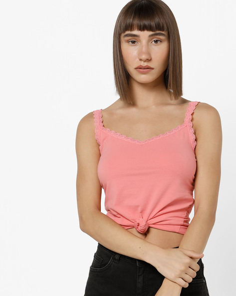 Camisole With Scalloped Lace Trim By Marks & Spencer ( Pink )