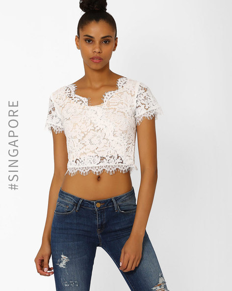 Lace Crop Top By MDS ( White )
