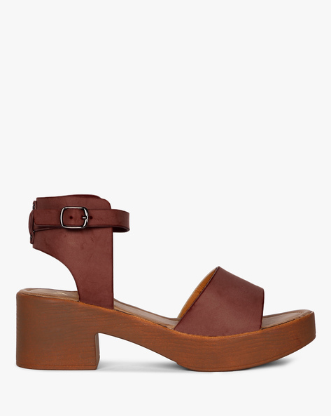 Chunky-Heeled Sandals With Ankle Strap By AJIO ( Maroon )