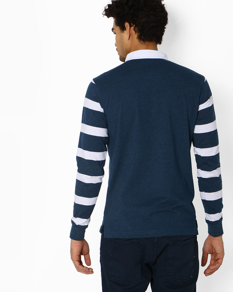 Polo T-shirt With Striped Sleeves By Teamspirit ( Blue )