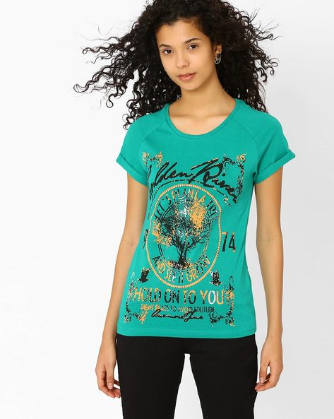 Graphic Print T-shirt With Raglan Sleeves By DNMX ( Green )