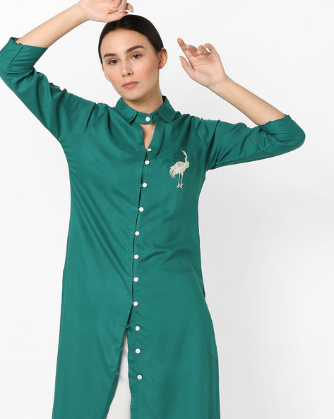 Embroidered Kurta With Keyhole Neckline By AJIO ( Green )
