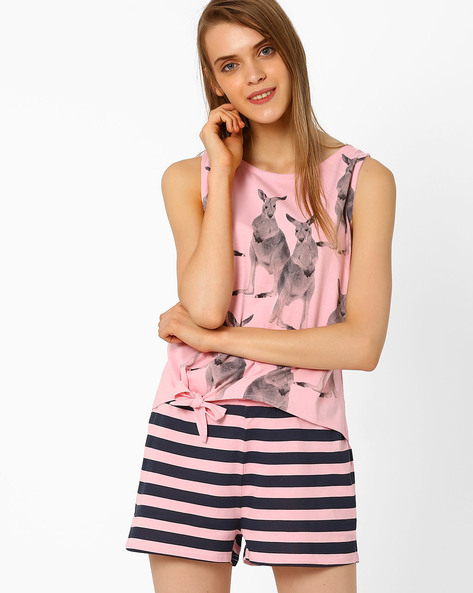 Printed Cotton Lounge Top By AJIO ( Lightpink )