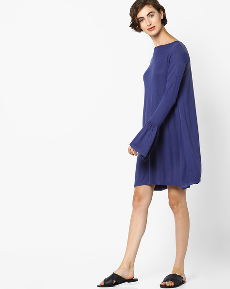 Tent Dress With Bell Sleeves By AJIO ( Navy )