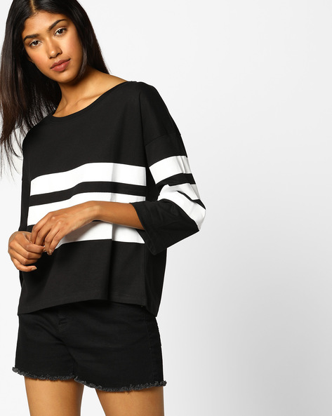 Striped Top With Drop Shoulders By AJIO ( Black )