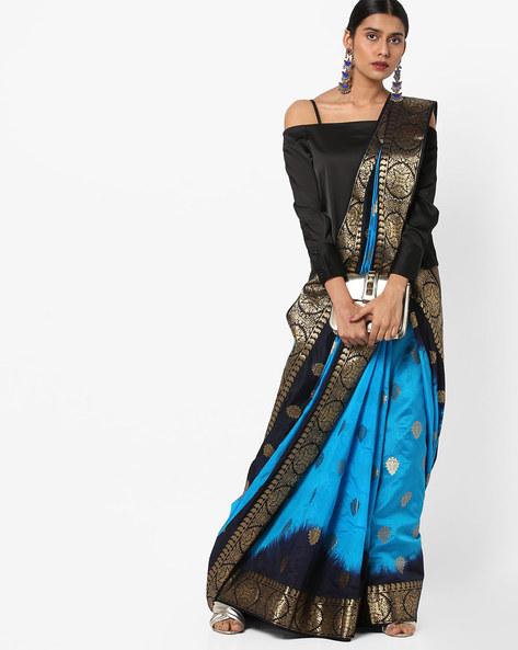 Banarasi Silk Leaf Print Saree With Zari Work By Viva N Diva ( Blue )