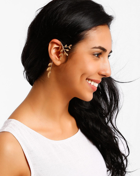 Leaf-Shaped Ear Cuff By AJIO ( Gold )