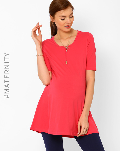 Maternity Tent Top By AJIO ( Coral )