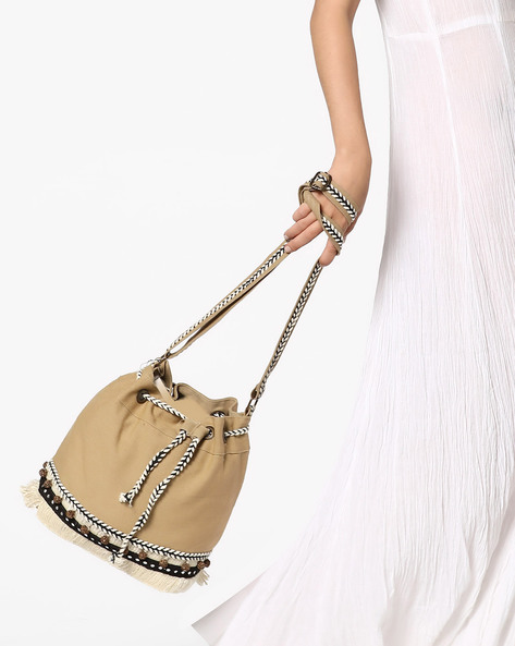 Drawstring Tote Bag With Sling Strap By THEEA ( Beige )