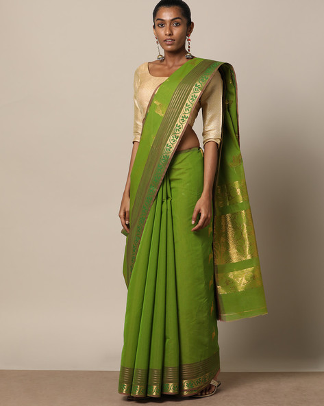 Uppada Style Mercerised Cotton Saree With Zari Buti By Indie Picks ( Lightgreen )
