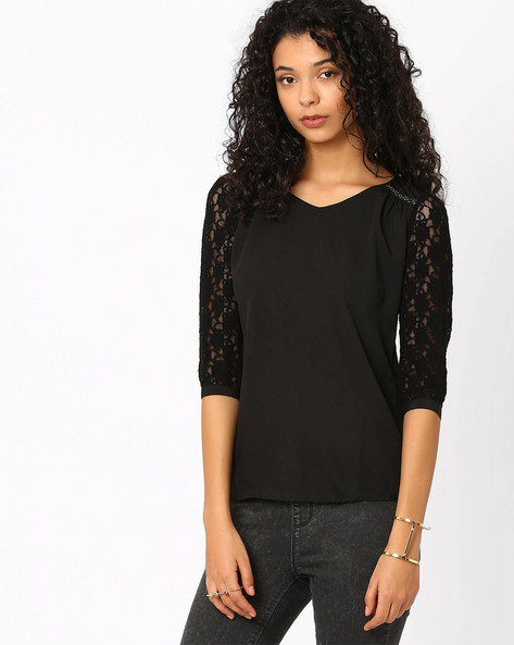 Top With Lace Sleeves By Honey By Pantaloons ( Black )