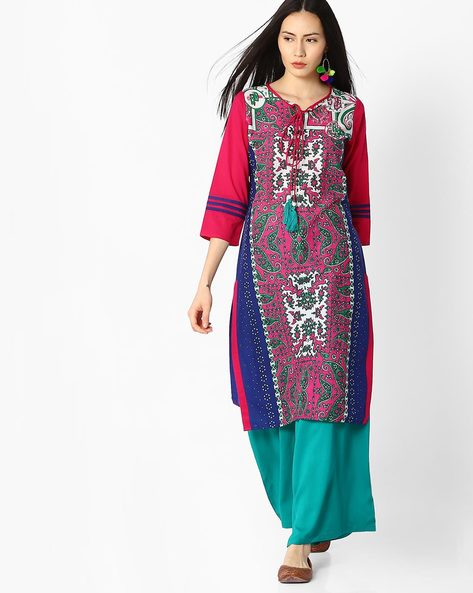 Printed Kurta With Tassel Tie-Up By Jaipur Kurti ( Blue )