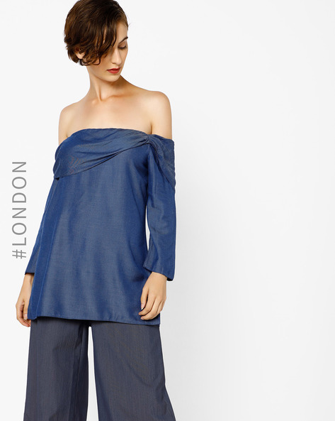 Off-Shoulder Top With Ruffled Overlay By Closet London ( Blue )