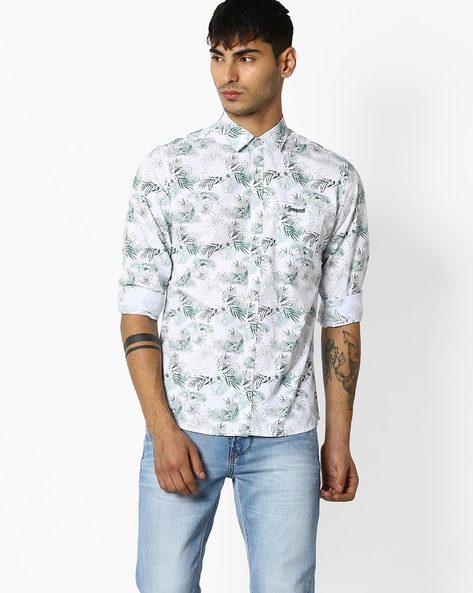 Tropical Print Regular Fit Shirt By TEAM SPIRIT ( White )