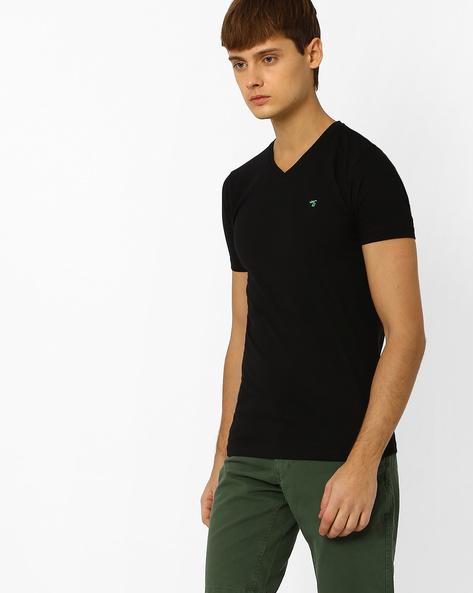 Slim Fit V-neck T-shirt By The Indian Garage Co ( Black ) - 460048096005