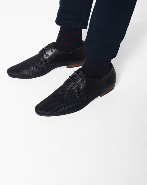 Derby Shoes With Mesh Panels By Modello Domani ( Navy )