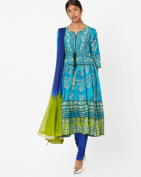 Printed Churidar Kurta With Dupatta By Rain & Rainbow ( Turquoise )