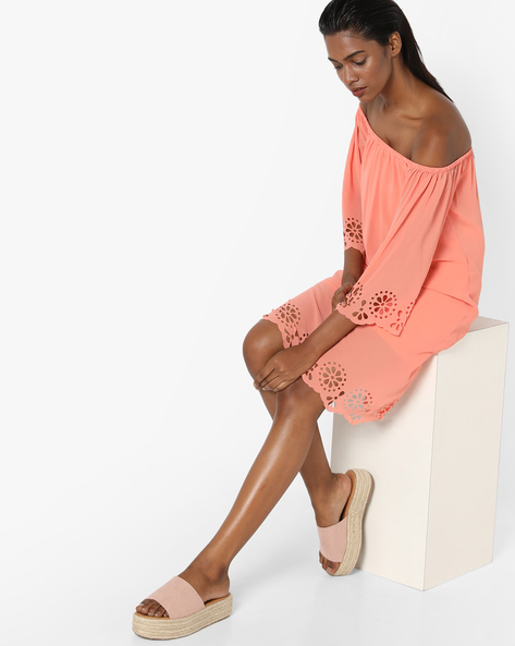 Off-Shoulder Shift Dress With Cutwork By Sassafras ( Pink )