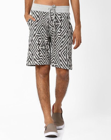 AOP Regular Shorts With Drawstring Waist By Garcon ( Greymelange )