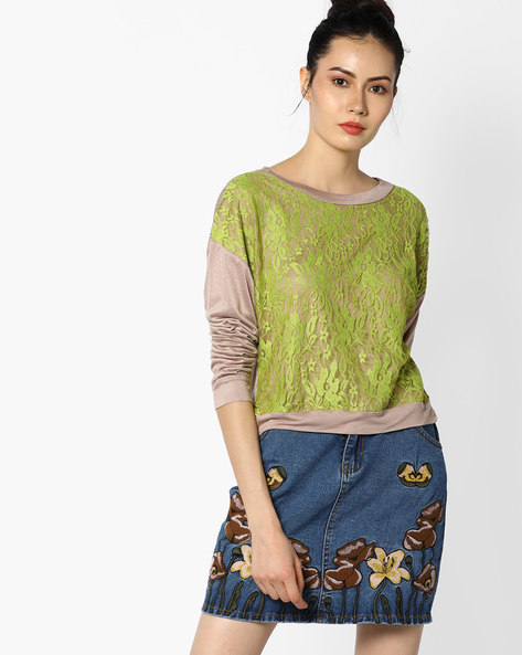 Floral Lace Top By And ( Beige )