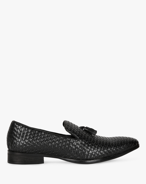 Low-Top Loafers With Basket Weave Upper By SAN FRISSCO ( Black )