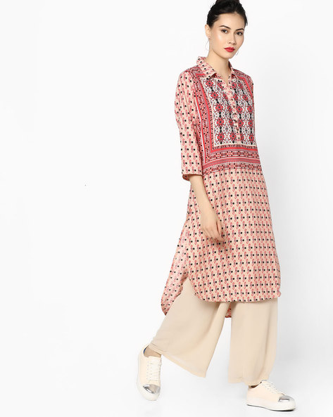Printed High-Low Kurta With Collar By Melange By Lifestyle ( Red )