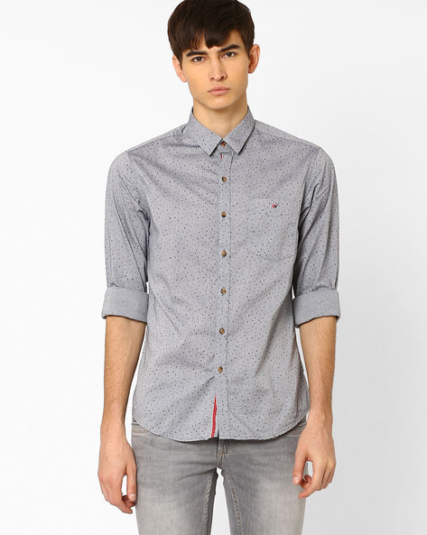 Slim Fit Justin Sport Shirt By Wills Lifestyle ( Grey )