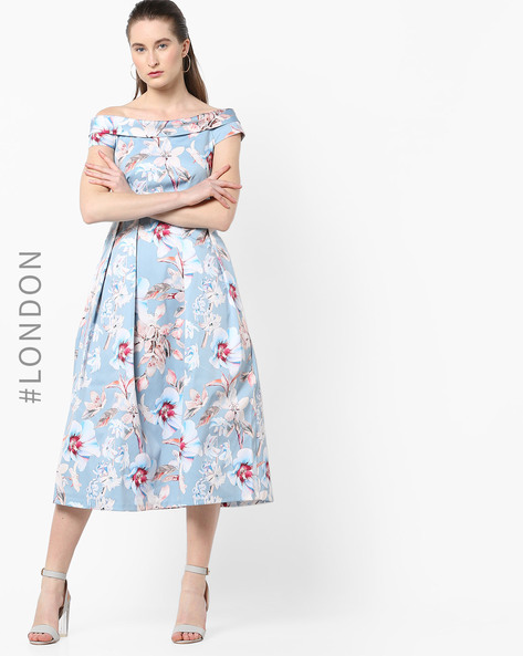 Floral Print Dress With Off-Shoulder Sleeves By Closet London ( Multi )