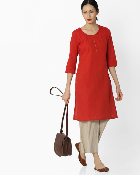 Self-Striped Cotton Kurta By AVAASA MIX N' MATCH ( Rust )