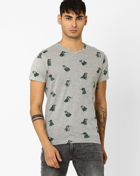 Printed Slim Fit T-shirt By ADAMO LONDON ( Greymelange ) - 460046896003