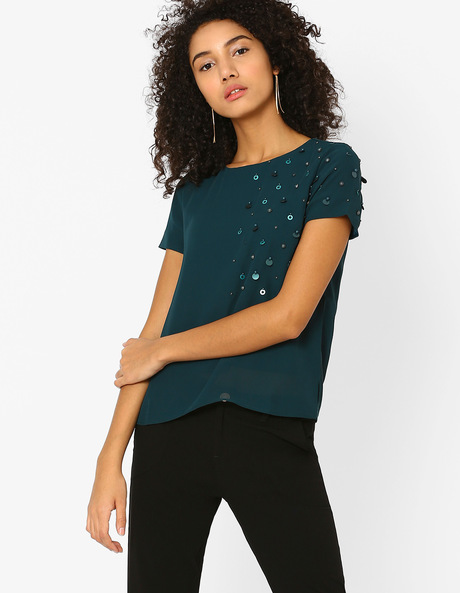 Boxy Top With Embellishments By AJIO ( Green )