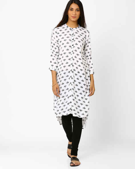 High-Low Printed Kurta By Akkriti By Pantaloons ( White )