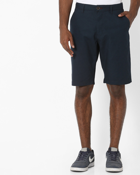 Mid-Rise Flat Front Shorts By NETPLAY ( Navy )