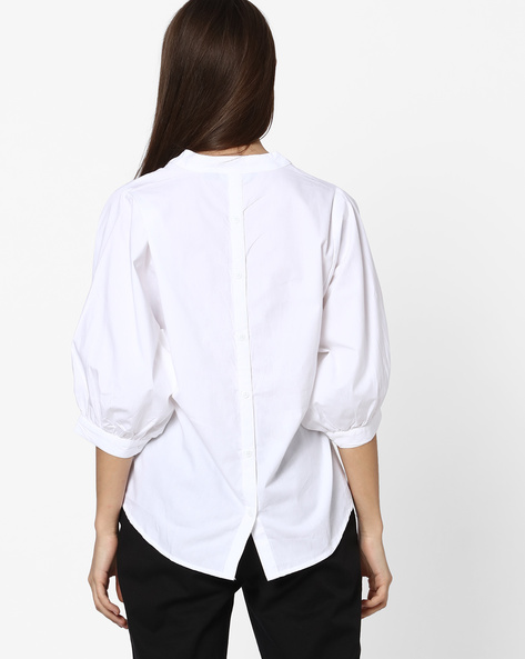 Cotton Shirt With Notched Mandarin Collar By FIG ( White )