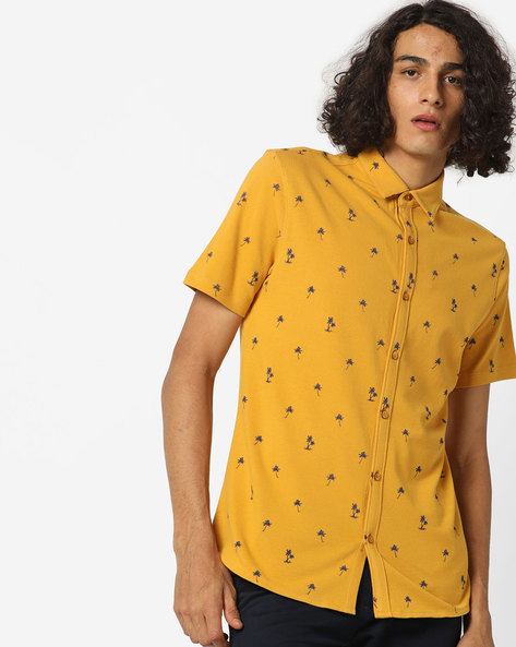 Printed Shirt With Spread Collar By AJIO ( Yellow ) - 460151816002