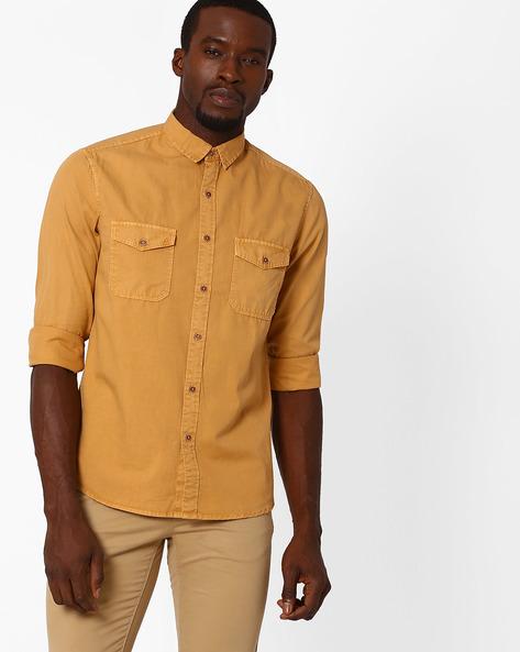 Slim Fit Twill Utility Shirt By AJIO ( Mustard )