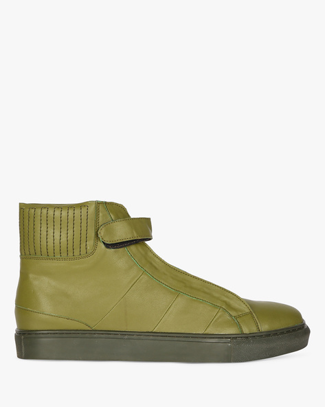 High-Top Sneakers With Velcro Tab By Funk ( Olive )