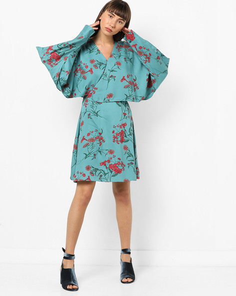 Floral Print Dress With Overlay By AJIO ( Teal )