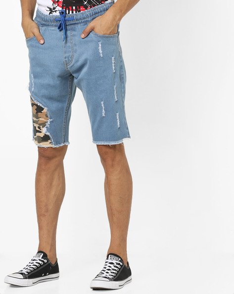 Distressed Denim Shorts With Camouflage Patch By DEEZENO ( Blue )