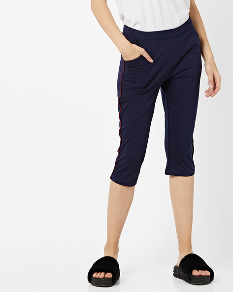 Mid-Rise Capris With Contrast Piping By Sweet Dreams ( Navyblue )