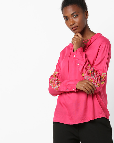 Top With Embroidered Sleeves By Rena Love ( Pink )