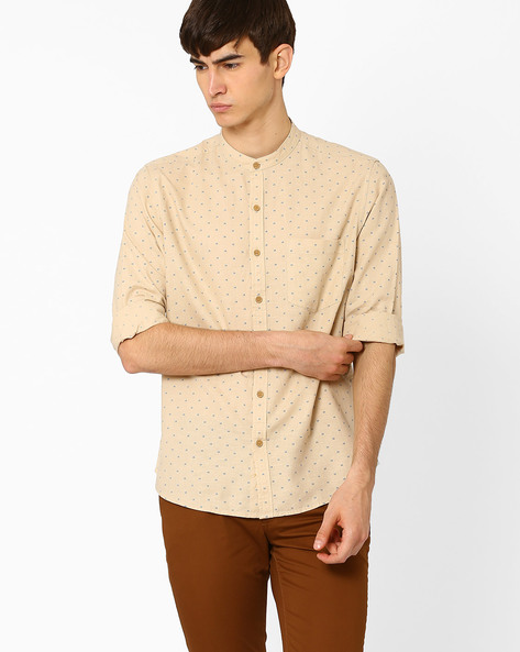 Slim Fit Linen Shirt By JOHN PLAYERS ( Olive )