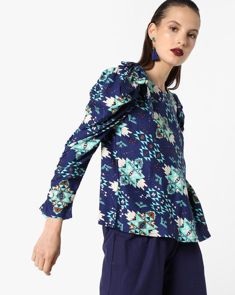 Aztec Print Top With Puff Sleeves By AJIO ( Navyblue )