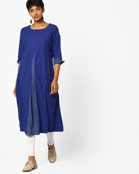 Pleated A-line Kurta By PE IW Casual ( Blue )