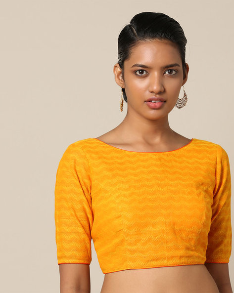 South Cotton Dobby Blouse With Back Tie-Up By Indie Picks ( Yellow )