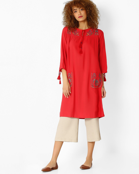 Straight Tunic With Embroidery By Global Desi ( Red )